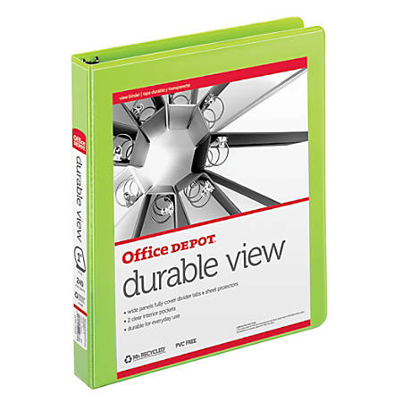 """Office Depot® Brand Durable D-Ring View Binder, 1"""" Rings, 60% Recycled, Green"""