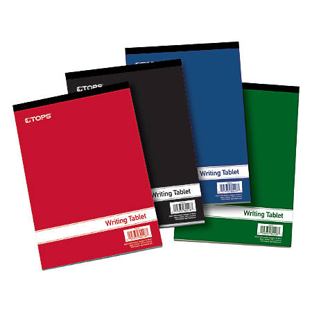 """TOPS® Writing Tablet, 6"""" x 9"""", Gregg Ruled, Assorted Colors, 200 Pages (100 Sheets), Pack Of 4"""
