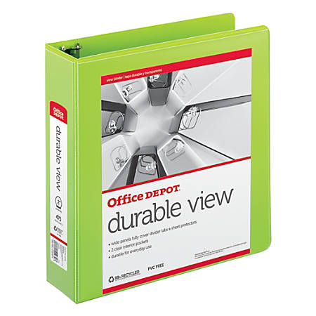 "Office Depot® Brand Durable D-Ring View Binder, 2"" Rings, 60% Recycled, Green"