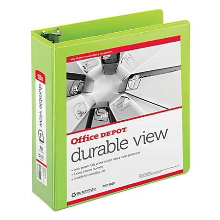 "Office Depot® Brand Durable D-Ring View Binder, 3"" Rings, 60% Recycled, Green"