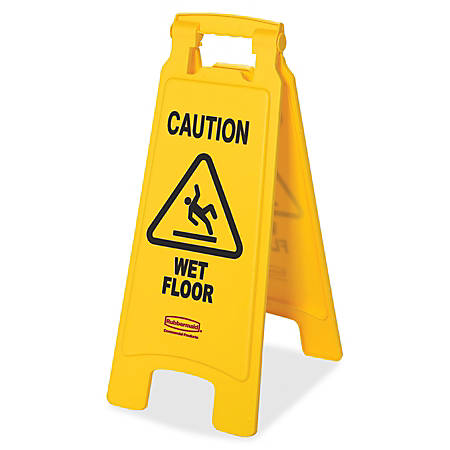 """Rubbermaid® Commercial Caution Wet Floor Safety Sign, Caution Wet Floor Print/Message, Multilingual, 11""""W x 25""""H, Box Of 6"""