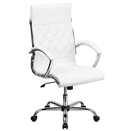 Flash Furniture Designer Upholstered Leather High-Back Swivel Chair, White/Silver