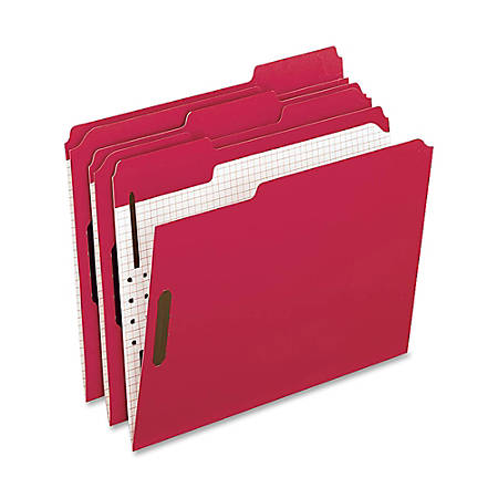 Oxford® 1/3-Cut Color Fasteners Folders, Letter Size, Red, Box Of 50