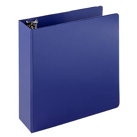 """Just Basics Economy Round-Ring Nonview Binder, 3"""" Rings, 64% Recycled, Blue"""