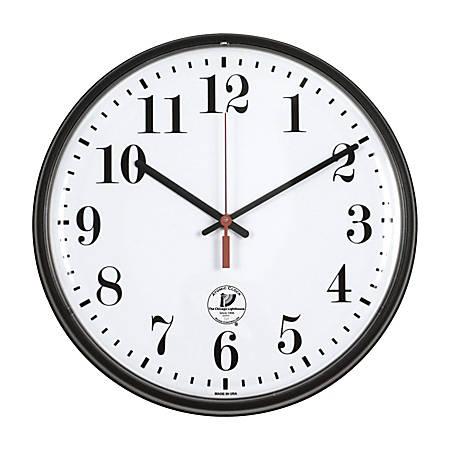 "Chicago Lighthouse 12"" Slimline Atomic Wall Clock, Black"