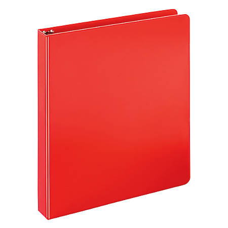 """Just Basics Economy Round-Ring Nonview Binder, 1"""" Rings, 64% Recycled, Red"""