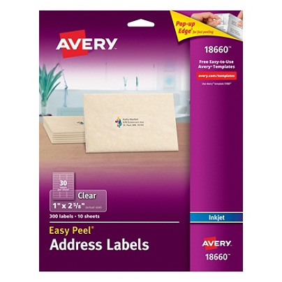 avery easy peel permanent address labels 18660 1 x 2 58 clear pack of 300 by office depot officemax