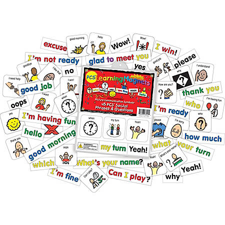 Barker Creek® Magnets, Learning Magnets® PCS®, Social Phrases & Questions Set, Grades Pre-K+, Pack Of 90