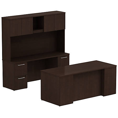 """Bush Business Furniture 300 Series Office Desk And Credenza With Hutch And Storage, 72""""W x 30""""D, Mocha Cherry, Premium Installation"""