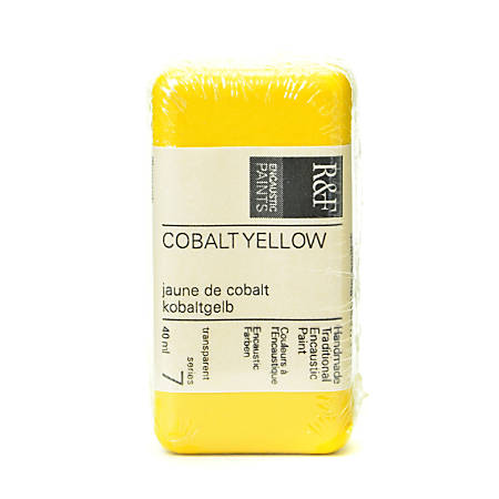 R & F Handmade Paints Encaustic Paint Cake, 40 mL, Cobalt Yellow
