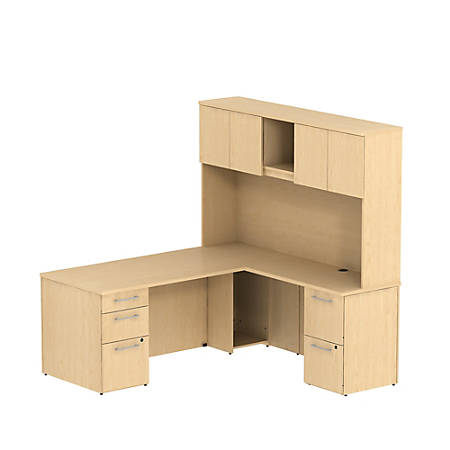"""Bush Business Furniture 300 Series L Shaped Desk With Hutch And 2 Pedestals 72""""W x 30""""D, Natural Maple, Premium Installation"""
