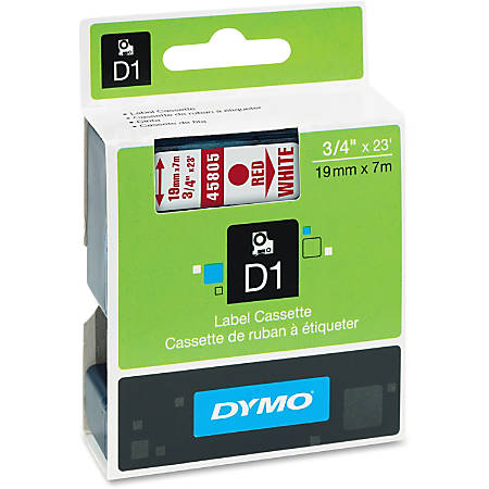 "DYMO® D1 45805 Red-On-White Tape, 0.75"" x 23'"