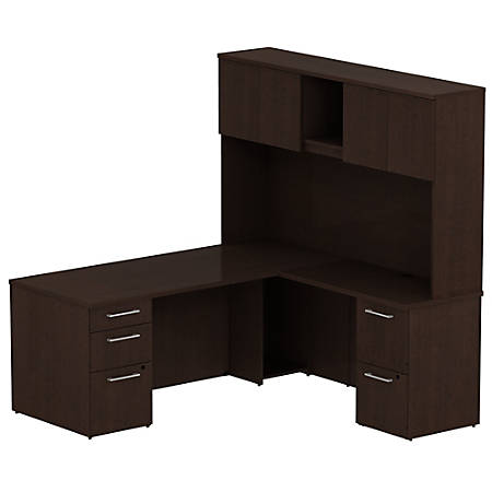 "Bush Business Furniture 300 Series L Shaped Desk With Hutch And 2 Pedestals 72""W x 30""D, Mocha Cherry, Premium Installation"