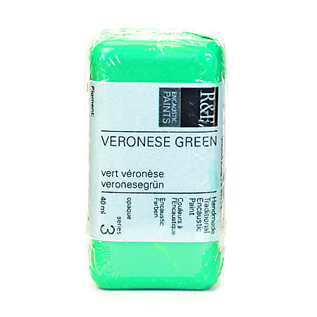 R & F Handmade Paints Encaustic Paint Cake, 40 mL, Veronese Green