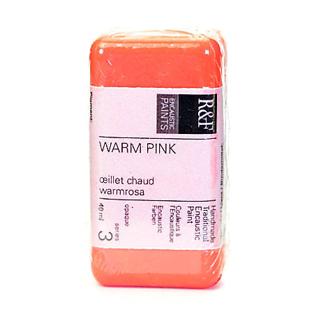 R & F Handmade Paints Encaustic Paint Cake, 40 mL, Warm Pink