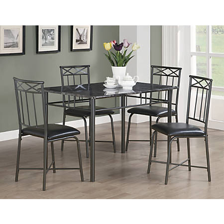 "Monarch Specialties 30"" Marble Table With 4 Chairs, Rectangle, Gray/Charcoal"