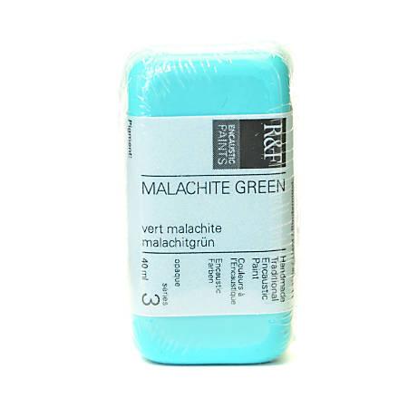 R & F Handmade Paints Encaustic Paint Cake, 40 mL, Malachite Green