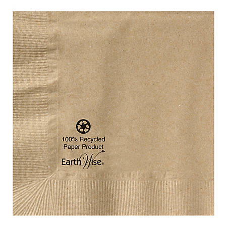 """Earth Wise 2-Ply Beverage Napkins, 5"""" x 5"""", 100% Recycled, Kraft, Case Of 1,000 Napkins"""