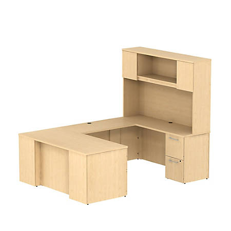 """Bush Business Furniture 300 Series U Shaped Desk With Hutch And 2 Pedestals, 66""""W x 30""""D, Natural Maple, Standard Delivery"""