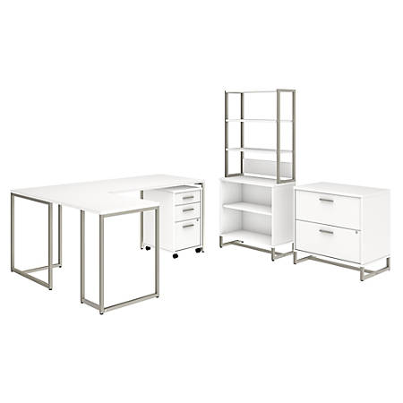"kathy ireland® Office by Bush Business Furniture Method 72""W L Shaped Desk with 30""W Return, File Cabinets and Bookcase, White, Premium Installation"