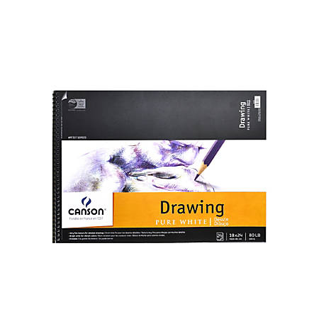 """Canson Pure White Drawing Pad, 18"""" x 24"""", 24 Sheets"""