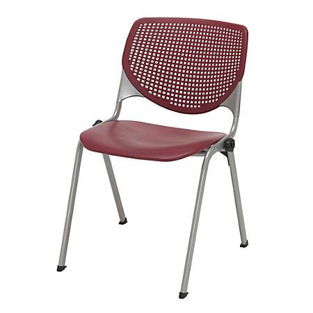 KFI Studios KOOL Stacking Chair, Burgundy/Silver