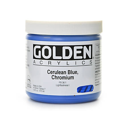 Golden Heavy Body Acrylic Paint, 16 Oz, Cerulean Blue Chromium