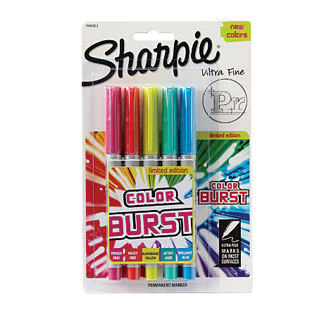 Sharpie® Color Burst Permanent Markers, Ultra-Fine Point, Assorted Colors, Pack Of 5