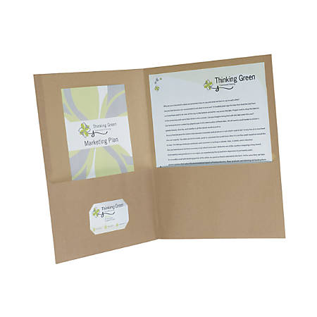 "Earthwise® By Oxford™ Twin-Pocket Folders, 8 1/2"" x 11"", 95% Recycled, Natural, Pack Of 25"