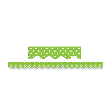 "Teacher Created Resources Border Trim, 2 3/16"" x 35"", Lime Mini Polka Dots, Pre-K - College, Pack Of 12"