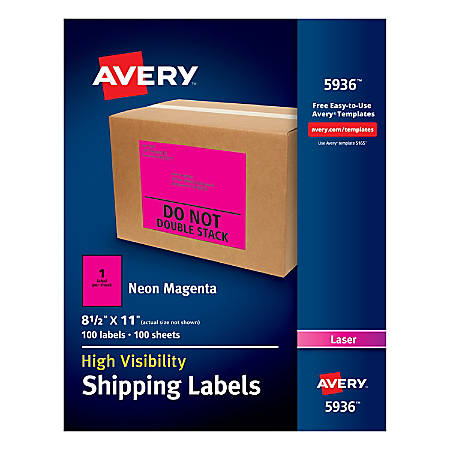"""Avery® High-Visibility Permanent Shipping Labels, 5936, 8 1/2"""" x 11"""", Neon Magenta, Pack Of 100"""