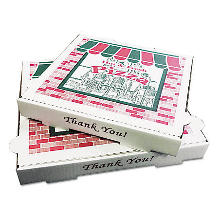 "PIZZA Box Takeout Containers, 2 1/2"" x 16"" x 16"", White, Pack Of 50"