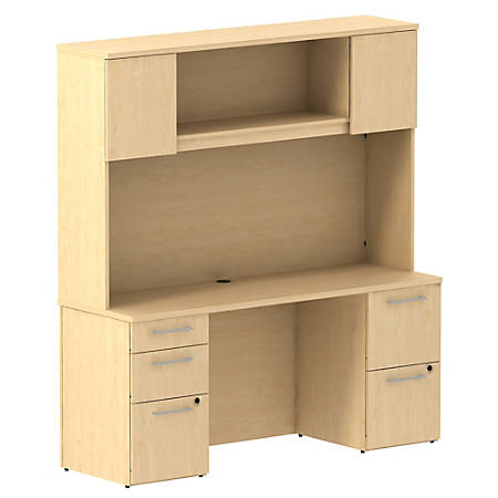 "Bush Business Furniture 300 Series Office Desk With Hutch And 2 Pedestals, 66""W x 22""D, Natural Maple, Premium Installation"