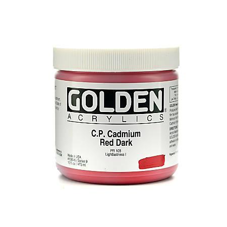 Golden Heavy Body Acrylic Paint, 16 Oz, Cadmium Red Dark (CP)