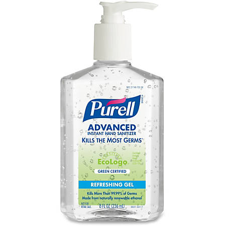 PURELL® Green Certified Instant Hand Sanitizer - 8 fl oz (236.6 mL) - Pump Bottle Dispenser - Kill Germs - Skin, Hand - Clear - Dye-free, Fragrance-free, Moisturizing - 1 Each