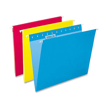 Oxford® Color 1/5-Cut Hanging Folders, Letter Size, Assorted, Box Of 25