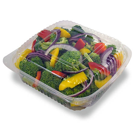 """StalkMarket Compostable PLA Cold Food Containers, 19"""" x 17"""", Clear, Pack Of 160"""