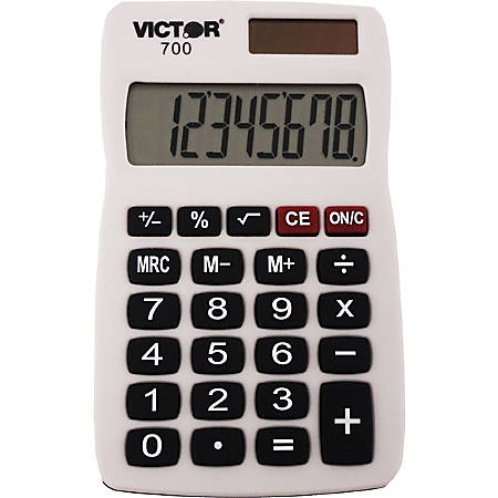 Victor 700 8 Digit Pocket Calculator 4 Functions Large Lcd Easy To Read Display Rubber Keytop Dual Digits Battery Solar