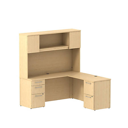 """Bush Business Furniture 300 Series L Shaped Desk With Hutch And 2 Pedestals 66""""W x 22""""D, Natural Maple, Standard Delivery"""