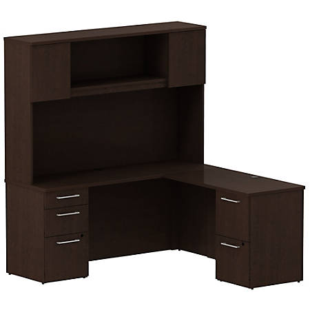 """Bush Business Furniture 300 Series L Shaped Desk With Hutch And 2 Pedestals 66""""W x 22""""D, Mocha Cherry, Standard Delivery"""