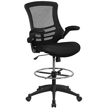 Flash Furniture Mid-Back Mesh Ergonomic Drafting Chair, Black