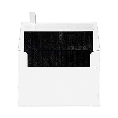 """LUX Foil-Lined Invitation Envelopes With Peel & Press Closure, A4, 4 1/4"""" x 6 1/4"""", White/Black, Pack Of 500"""