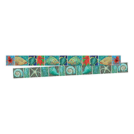 "Barker Creek Double-Sided Border Strips, 3"" x 35"", Surf's Up Coral Reef, Set Of 24"
