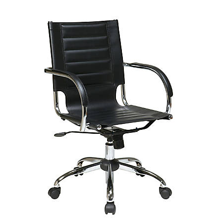Ave Six Trinidad Vinyl Mid-Back Office Chair, Black/Silver