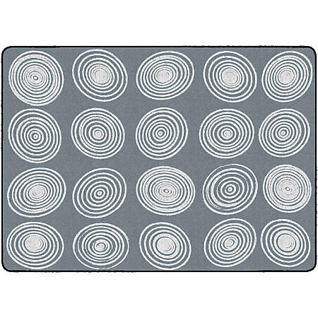 "Flagship Carpets Circles Rug, Rectangle, 6' x 8' 4"", Gray/White"