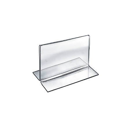 "Azar Displays Double-Foot Acrylic Sign Holders, 3 1/2"" x 5"", Clear, Pack Of 10"
