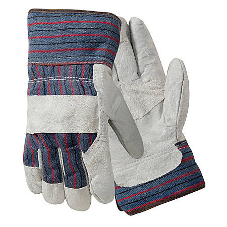 R3 Safety Large Leather Palm Gloves, Gray/Blue/Red