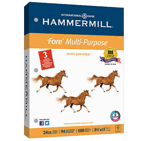 Hammermill® Fore Multipurpose Paper, 3-Hole Punched, Letter Size Paper, 24 Lb, White, Ream Of 500 Sheets