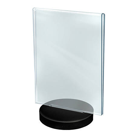 """Azar Displays Acrylic Frames On Round Bases, Vertical, 8 1/2"""" x 11"""", Clear/Black, Pack Of 10"""