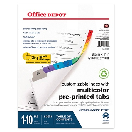 Office Depot® Brand Table Of Contents Customizable Index With Preprinted  Tabs, Assorted Colors, Numbered 1-10, Pack Of 6 Sets Item # 474944
